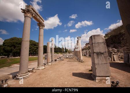 View to the south gate Agora in the Roman ruins of Ephesus, Efes, Selcuk, Kusadasi,Turkey, Europe. - Stock Photo