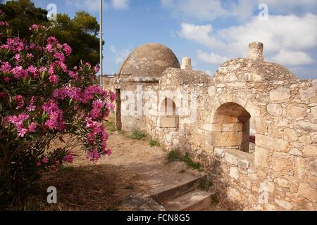 Walls of the the Venetian fortress in Rethymno town, Crete, Greek Islands, Greece, Europe. - Stock Photo
