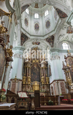 Saint Peter Collegiate Church interior in Salzburg, Austria. - Stock Photo