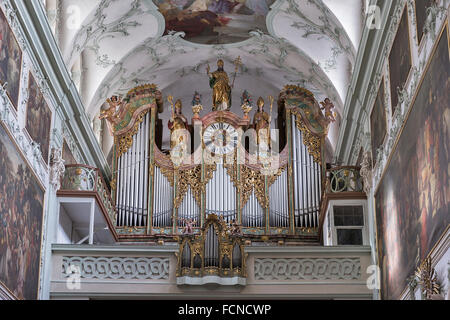 Saint Peter Collegiate Church interior organ in Salzburg, Austria. - Stock Photo