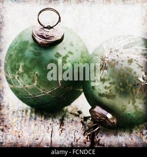 Antique styled glass Christmas bauble. - Stock Photo