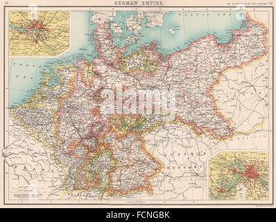 german empire states germany prussia hamburg berlin bartholomew 1901 map