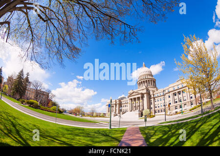 Capitol boulevard and building in Boise - Stock Photo