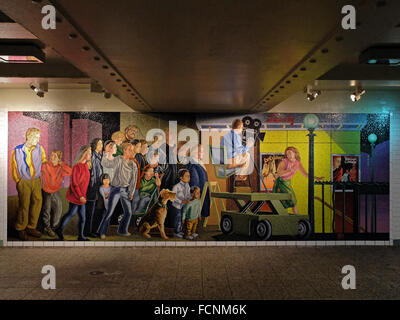 The Return of Spring/The Onset of Winter a mural by Jack Beal at the Times Square subway station in Midtown Manhattan, - Stock Photo