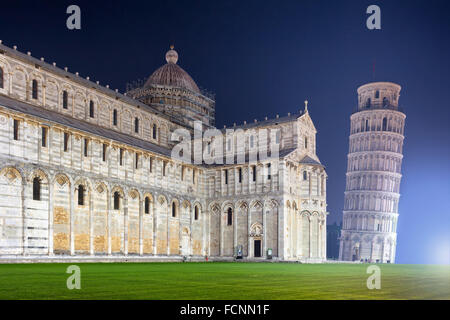 The Leaning Tower Of Pisa By Night - Stock Photo