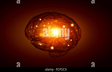 Concept of human intelligence with human brain on black background - Stock Photo