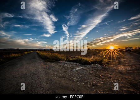 Sunset, countryside, Gossolengo - Stock Photo