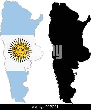 Argentina map flag on a white background. Vector illustrator. - Stock Photo
