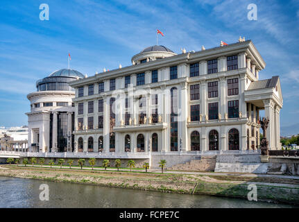 Ministry of Foreign Affairs building, over Vardar river, in Skopje, Republic of Macedonia - Stock Photo