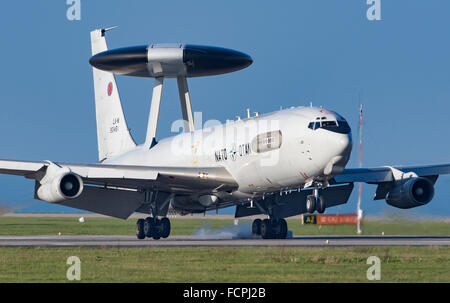 NATO E-3A Sentry in circuit at Newquay Airport/RAF ST Mawgan for about two hours on 20/1/2016 - Stock Photo