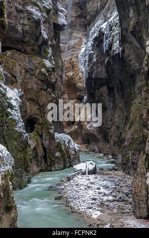 Partnachklamm gorge near Garmisch-Partenkirchen, Bavaria, Germany Stock Photo