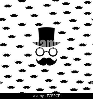 Vector seamless pattern in retro style bowler hat, mustache, glasses for background, paper - Stock Photo