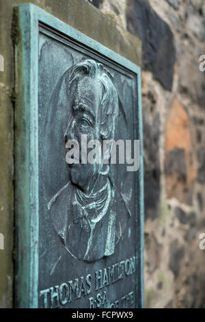 Plaque, Old Cemetery, Old Calton Burial Ground, 1819, Obelisk, City of Edinburgh, memorial, monument, Great Britain, - Stock Photo
