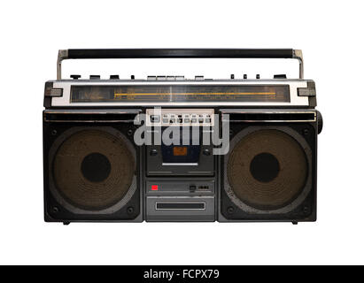 retro cassette player set isolated over white background - Stock Photo