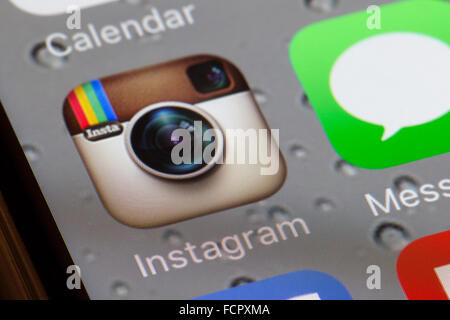 Instagram app on an iphone 6 screen - Stock Photo