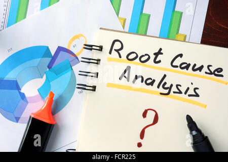Notepad with RCA - Root Cause Analysis on the wooden table. - Stock Photo