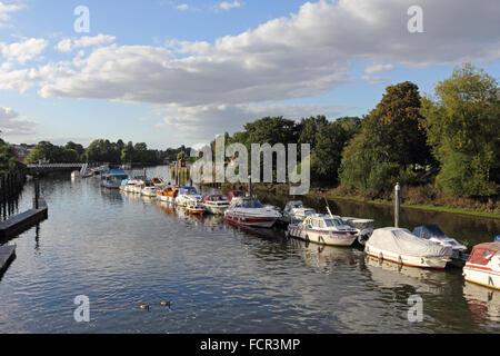Boats moored on The River Thames at Teddington Lock, London, UK. - Stock Photo