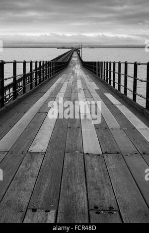 Black and White Long Distance View of Southend Pier - Stock Photo