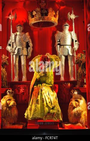 New York City - December 2015: Bergdorf Goodman Christmas Holiday Windows Display named 'Crown Jewels' with Lights - Stock Photo