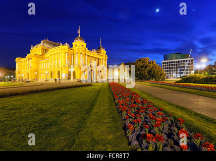 Zagreb national theater in the night - Stock Photo