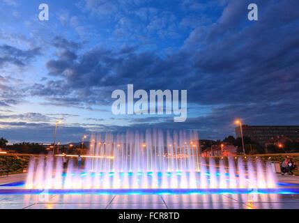 New fountain near new National Library in Zagreb, Croatia. - Stock Photo