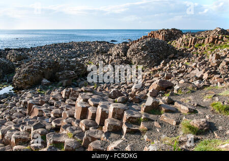 Giants Causeway, unique geological formation of rocks and stones on the coast of Antrim County, Northern Ireland, - Stock Photo