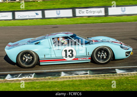 1965 Ford GT40 owned by Shaun Lynn and driven by him at the 2015 Goodwood Revival. Space for copy - Stock Photo