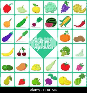Colored icons of fruits and vegetables - Stock Photo