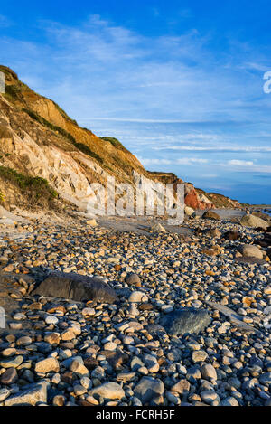 Coastal clay cliffs and rock formations along Moshup Beach, Gay Head, Aquinnah, Martha's Vineyard, Massachusetts, - Stock Photo