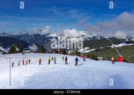 Les Gets ski resort and station on Portes Du Soleil domain in the French Alps - Stock Photo