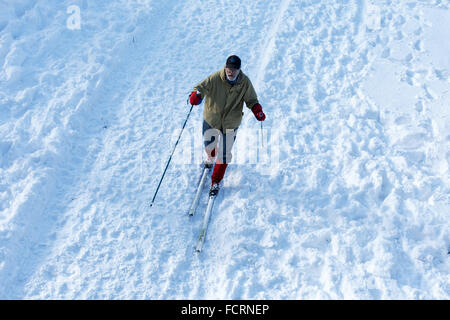 New York, USA. 24th Jan, 2016. A man skis in New York's Central Park on Jan. 24, 2016. A fearsome blizzard that - Stock Photo