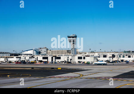 Terminal and control tower at Philadelphia airport, Pennsylvania, USA - Stock Photo
