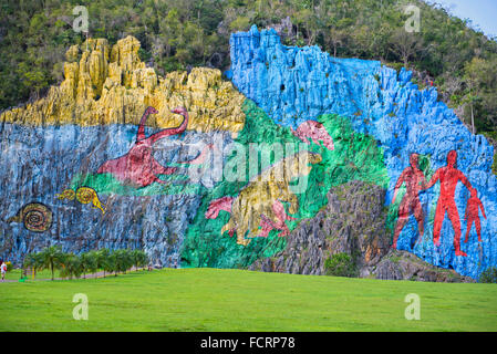 Vinales Valley Mural, Valle de Vinales Mural de la Prehistoria - Stock Photo