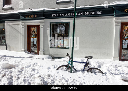 Italian American Museum after the Blizzard of January 2016 - Stock Photo