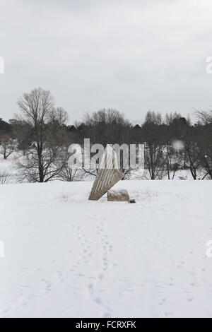 A sculpture titled 'Stone Harp' by Rene Kung at the Minnesota Landscape Arboretum near Minneapolis. - Stock Photo