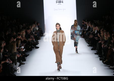 Berlin, Germany. 20th Jan, 2016. Mercedes-Benz Fashion Week Autum/Winter 2016 in Berlin. A model presents collection - Stock Photo