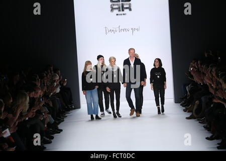 Berlin, Germany. 20th Jan, 2016. Mercedes-Benz Fashion Week Autum/Winter 2016 in Berlin.The picture shows the designers - Stock Photo