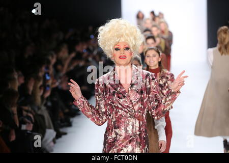 Berlin, Germany. 20th Jan, 2016. Mercedes-Benz Fashion Week Autum/Winter 2016 in Berlin. Olivia Jones, drag artist, - Stock Photo