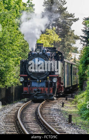 Historical steam train from Radebeul. This train line goes from Radebeul to Moritzburg near Dresden, Germany. - Stock Photo