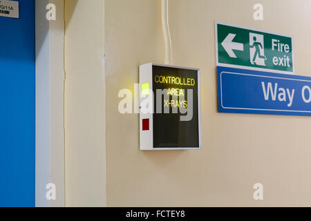 Controlled Area X-Rays electronic warning sign in hospital - Stock Photo