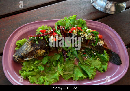 Snake head fish deep fried serve with herb and spicy sauce for What to serve with fish