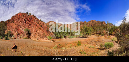ancient limestone formation on the bottom of brachina gorge creek road around Flinders ranges national park in South - Stock Photo