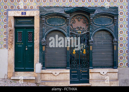 Portugal, Lisbon, Alfama frontage of a appartement - Stock Photo