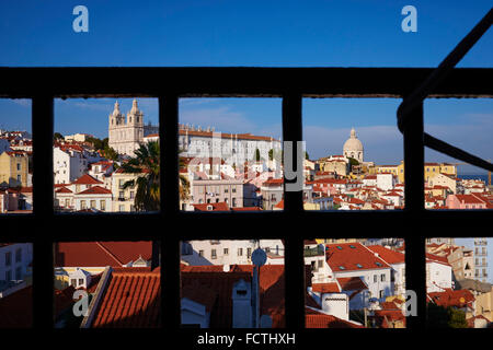 Portugal, Lisbon, Alfama from Santa Luzia belvedere - Stock Photo