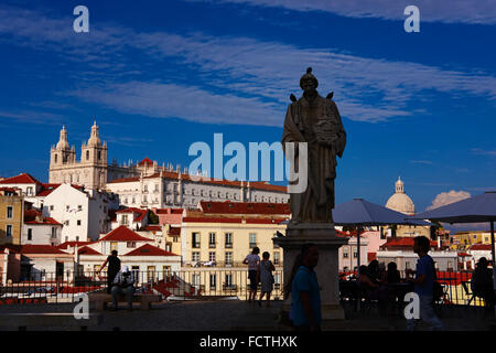 Portugal, Lisbon Alfama from Santa Luzia belvedere - Stock Photo