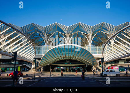 Portugal, Lisbon, Parque das Nações, Park of Nations, Gare do Oriente or Oriente railway station, designed by par - Stock Photo