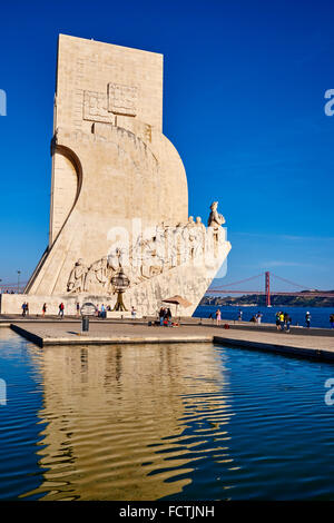 Portugal, Lisbon, Belem, Padrao dos Descobrimentos (Monument to the Discoveries - Stock Photo