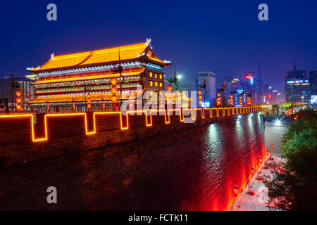 China, Shaanxi province, Xian, City wall and watch tower - Stock Photo