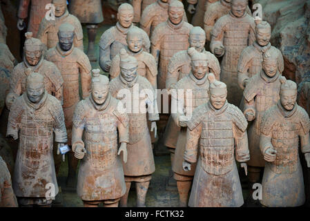 China, Shaanxi province, Xian, Lintong site, Detail of some of the six thousand statues in the Army of Terracotta - Stock Photo