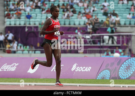 Chaltu Beji (AZE) on her way to victory during the Women's 3000m Steeplechase. Athletics. Olympic Stadium. Baku2015. - Stock Photo